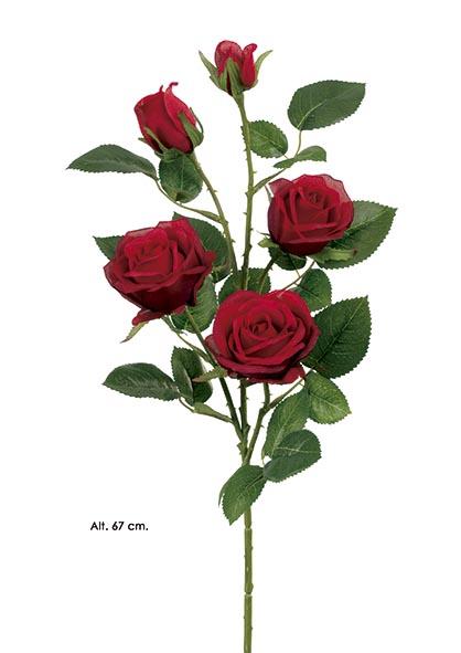 ROSA X 3 -2 CAP. 67 CM. ROJO. (CAJA DE 12 UNIDAD)