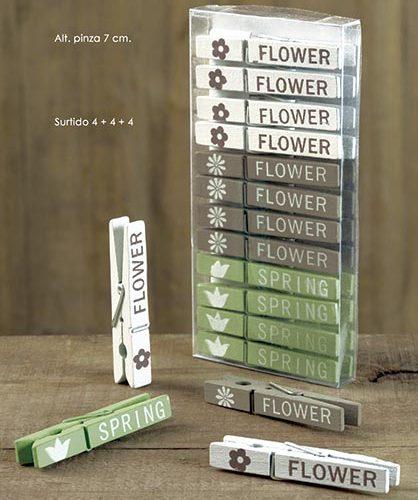 PINZA FLOWER-SPRING. 7 CM. SURTIDO 4+4+4 (CAJA DE 12 UNIDAD)